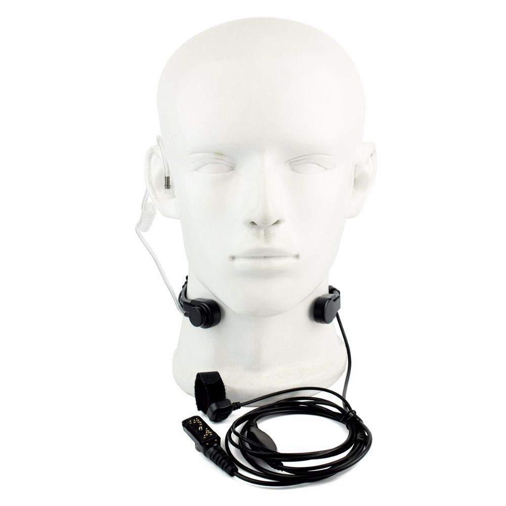 Adjustable Throat Microphone With Transparent Flexible Acoustic Tube Finger PTT Earpiece for Hytera PD780 two way radio