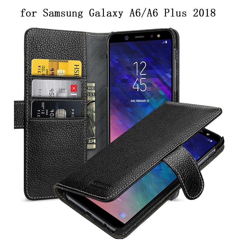 Portefeuille étui pour samsung Galaxy A6 2018 Version 100% Véritable Couverture En Cuir pour Coque Galaxy A6 Plus A6 + Piable avec Fente pour carte