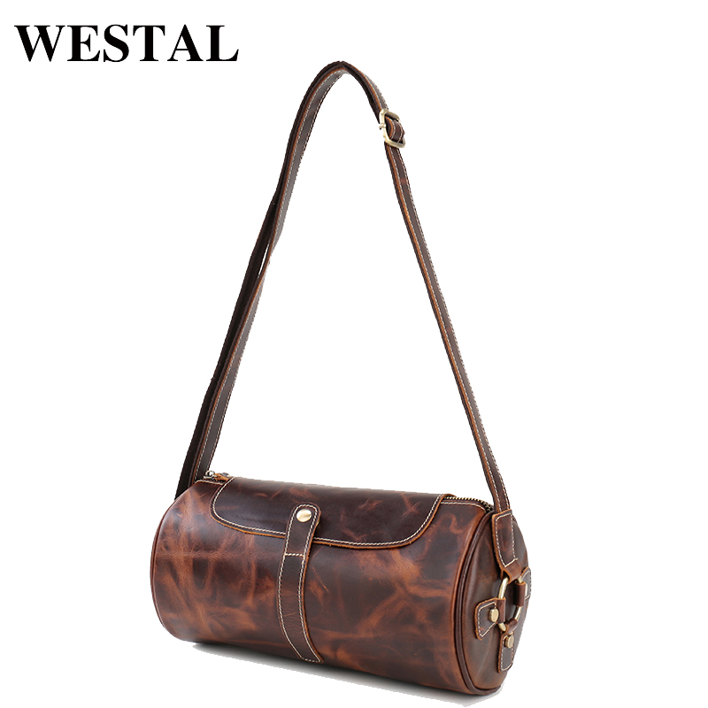 WESTAL Fashion Bag Men Genuine Leather Men Crossbody Bags Man Small Messenger Crazy Horse Leather Male Shoulder Handbag 1179 simline 2017 vintage genuine crazy horse leather cowhide men men s messenger bag small shoulder crossbody bags handbags for man