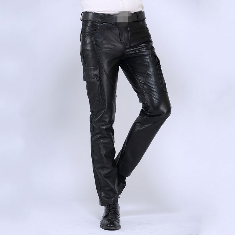 2019 New Mens Straight Pants Brand Luxury Genuine Leather Long Pants Male Fashion Cowhide Real Leather Warm Motorcycle Trousers