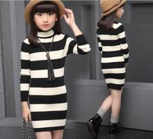 New 2017 Autumn Fashion Striped Turtleneck Pullover Long Section Knitted Sweater Cotton Decoration Appliques Girls Clothes S139
