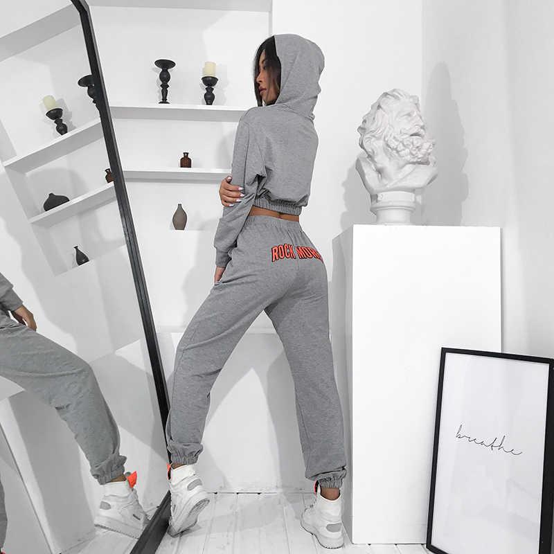 Waatfaak Rahat Gri Bayan Iki Parçalı Set üst ve pantolon Sonbahar Kış Mektubu Baskı Kırpılmış Hoodies Pamuk Harajuku Eşofman