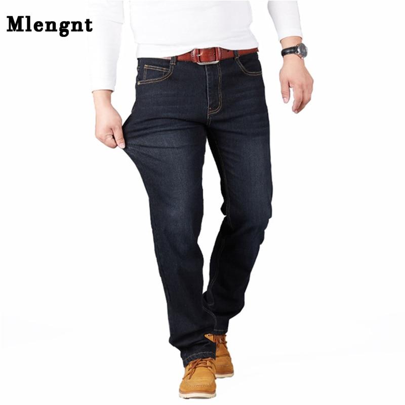 Big Size 28-48 Man   Jeans   High Stretch Straight Long Slim Trousers Fashion Casual Black Blue Denim Male Business Jeanswear Pants