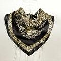 Accesorios de moda Oro Negro Square Bufanda de Seda Impresa de La Moda Femenina 100% Morera Crepe Satén de Seda de Las Mujeres Bufandas