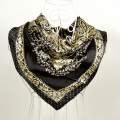 Fashion Accessories Black Gold Female Square Silk Scarf Printed Fashion 100% Mulberry Silk Crepe Satin Women Scarves