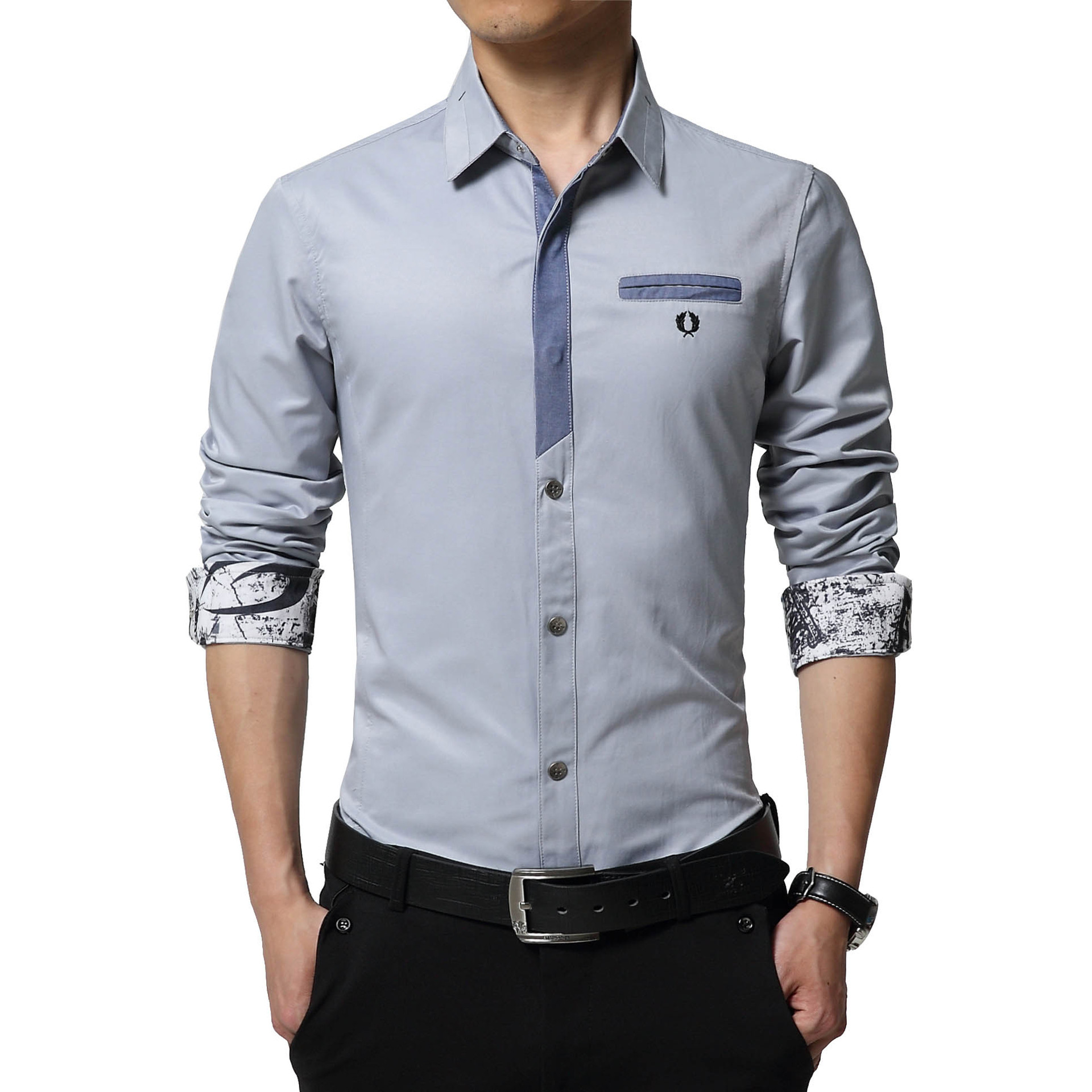 Floral Print Striped Dress Men Shirt Uniform Mens Long Sleeve Slim Fit Top Vintage Cotton Button Down Shirts Camisa Masculina 38
