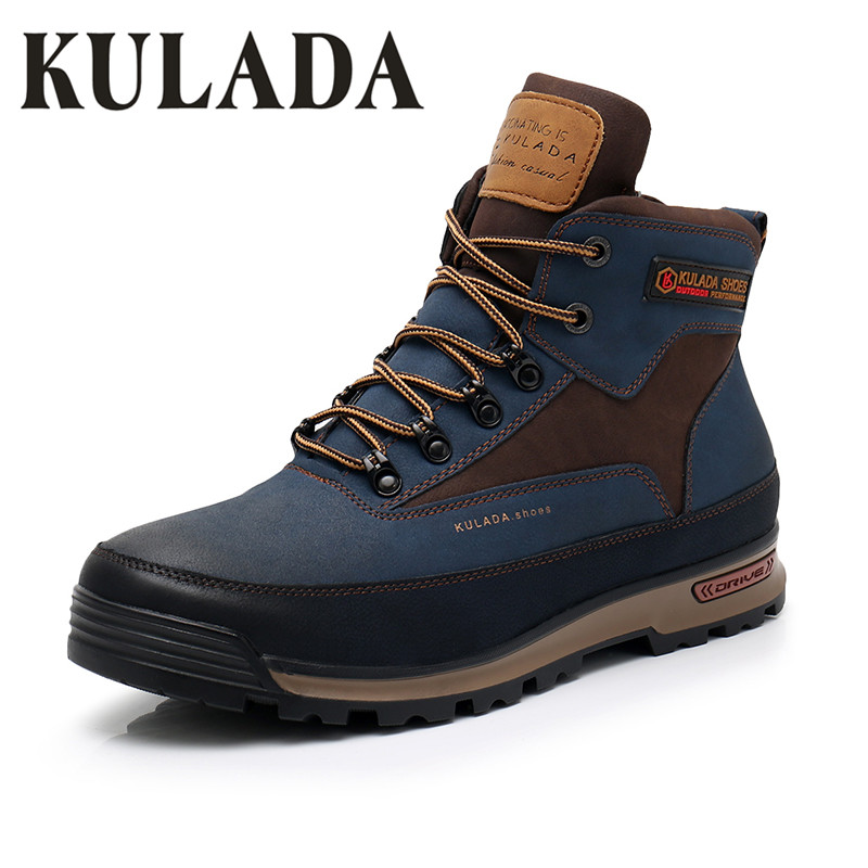 KULADA Newest Men Boots Men Winter Snow Outdoor Activity Sneakers Fur Plush Lace Up High Top