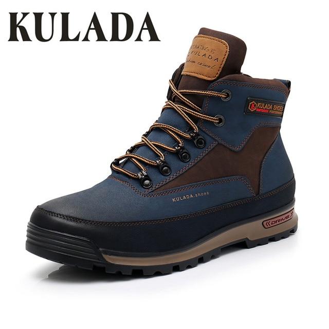 KULADA 最新の男性ブーツ男性冬の雪の屋外活動スニーカー毛皮 & 豪華なレースアップハイトップファッションブーツ男性冬の靴