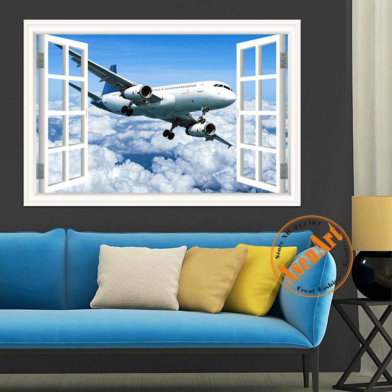 Buy 3d vinyl wall art airplane wallpaper for Airplane cockpit wall mural