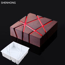 SHENHONG Twill BLOCK 3D Silicone Cake Moulds Geometric Square For Ice Creams Chocolates Pastry Art Pan Bakeware Accessories(China)