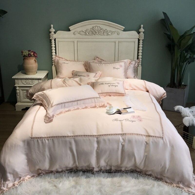 800TC Tencel juego de cama de seda sábana de cama edredón bordado de lujo juego de cama Queen King size ropa de cama funda de almohada ropa de cama cama-in Juegos de ropa de cama from Hogar y Mascotas    3