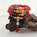 Chinese Garnet Style Bead Bracelet With Buddha Charm Natural Stone Bracelets for Women Strand Elastic Rope Chain