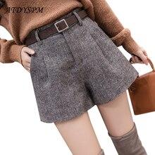 Vintage Hohe Taille Woolen Shorts Frauen Herbst Winter Breite Bein Kurze Elegante Büro Dame Alle Spiel Casual A Line Shorts freies Gürtel