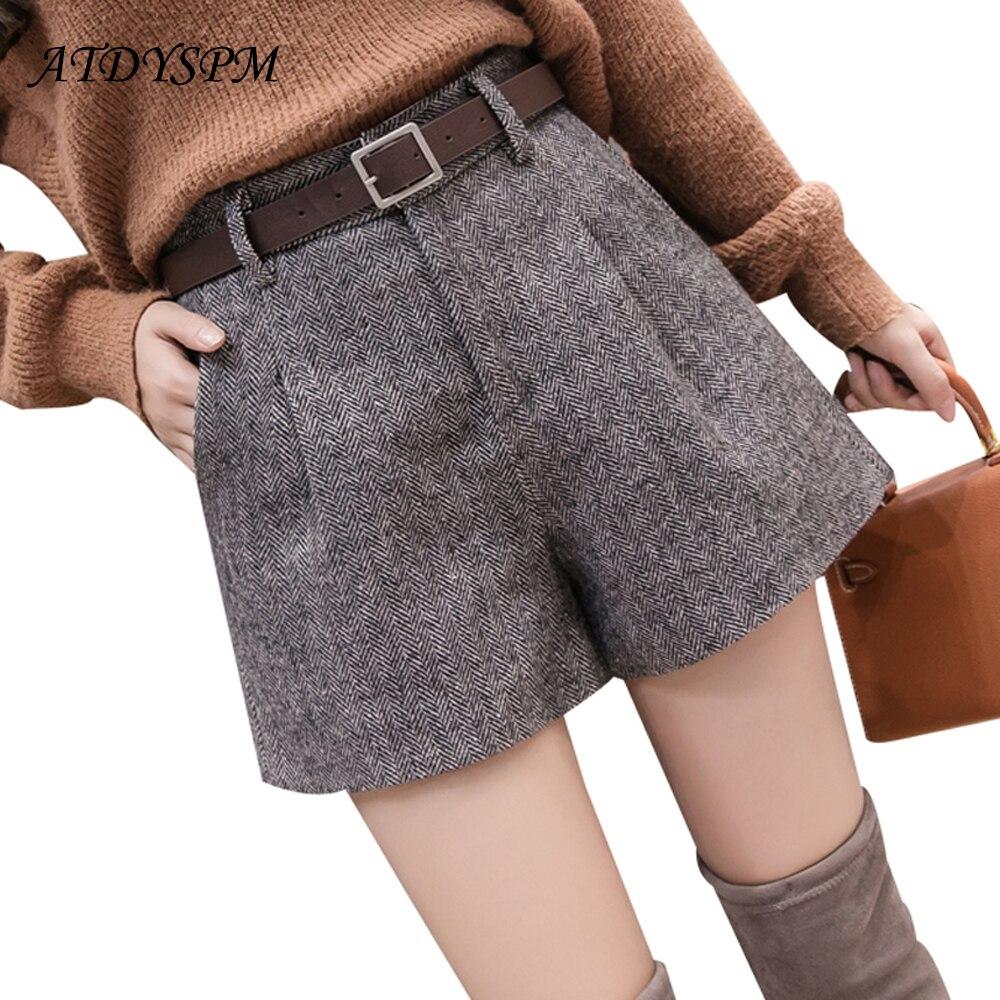 Women woolen   shorts   elegant wide leg   shorts   autumn winter female 2019 new fashion high waist casual A-Line   shorts   free belt