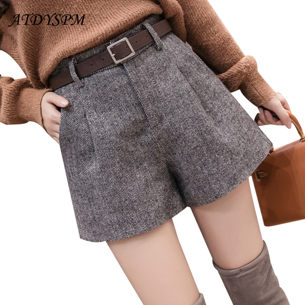 Women Woolen Shorts Elegant Wide Leg Shorts Autumn Winter Female 2019 New Fashion High Waist Casual A-Line Shorts Free Belt