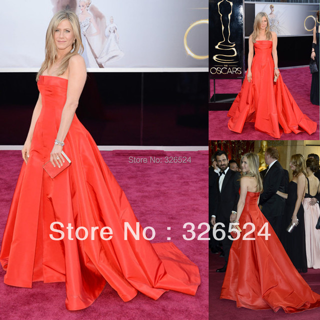 New Arrivals Ball gown Floor length With Court Train Jennifer Aniston's academy awards red carpet dresses Celebrity Dress AC03