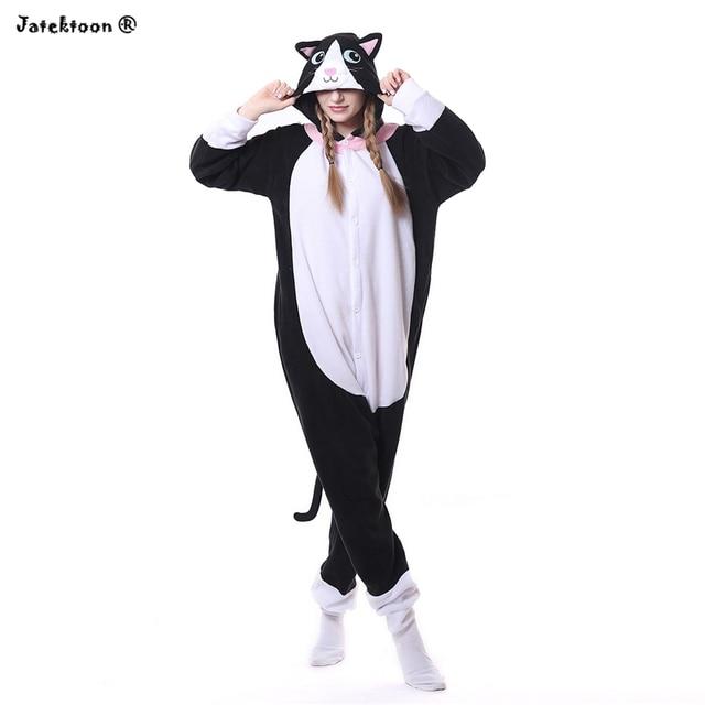 a3a011e2d3 Halloween cat woman pijama animal adults Costume Black Spooky Cat Onesies  Sleepwear Romper For women cat woman costume tracksuit
