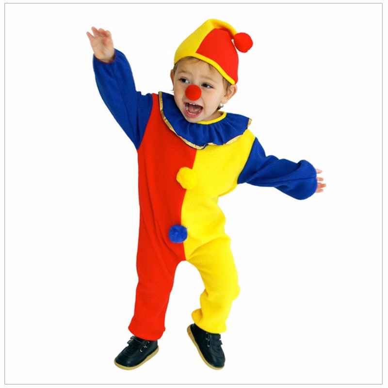New Kids Clown costume Advance Fabric Jumpsuits & Rompers+Hat+Nose Halloween Carnival Clown Circus Cosplay Costumes