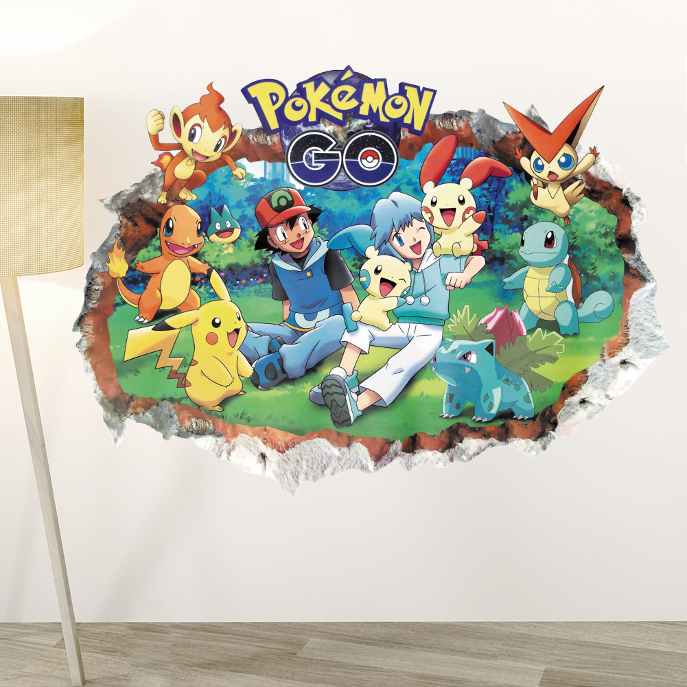 Pokemon Go Pikachu Wall Stickers 3d Game Smashed Wall Decals Sticker Vinyl Mural Kids Baby Nursery Room Decor Poster Mural