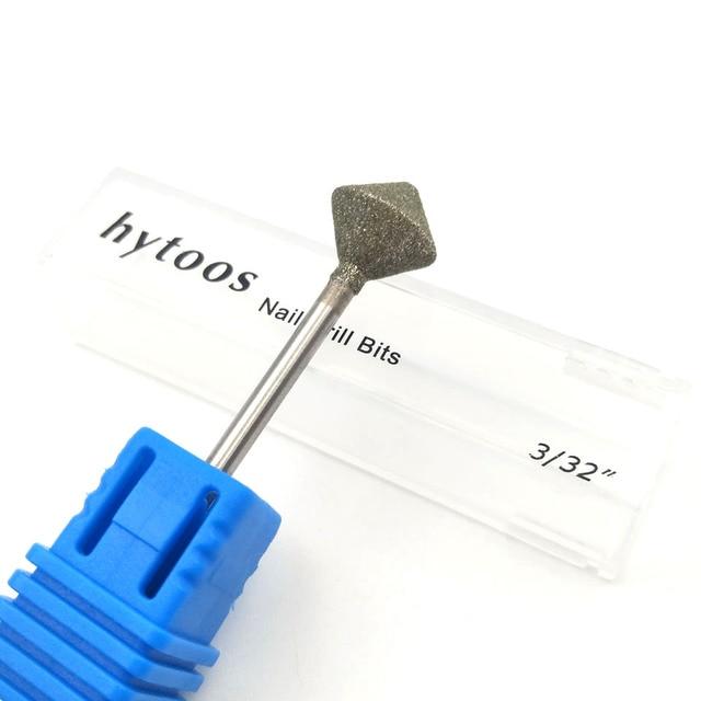 """HYTOOS 10mm Rhombus Diamond Nail Drill Bit 3/32"""" Rotary Burr Manicure Cutters Electric Drill Accessories Nail Mills Tools-D-7 2"""