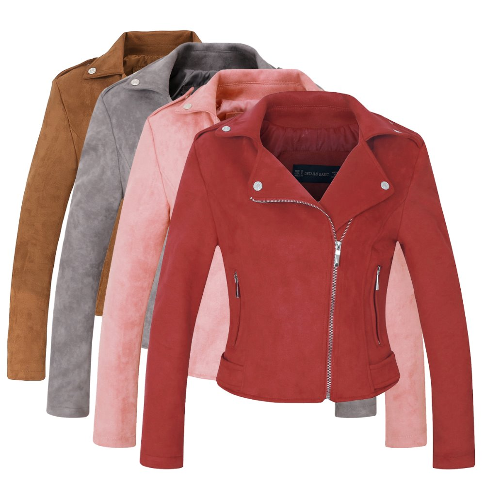 2020 New Arrial Women Autumn Winter Suede Faux Leather Jackets Lady Fashion Matte Motorcycle Coat Biker Gray Pink Red Outwear