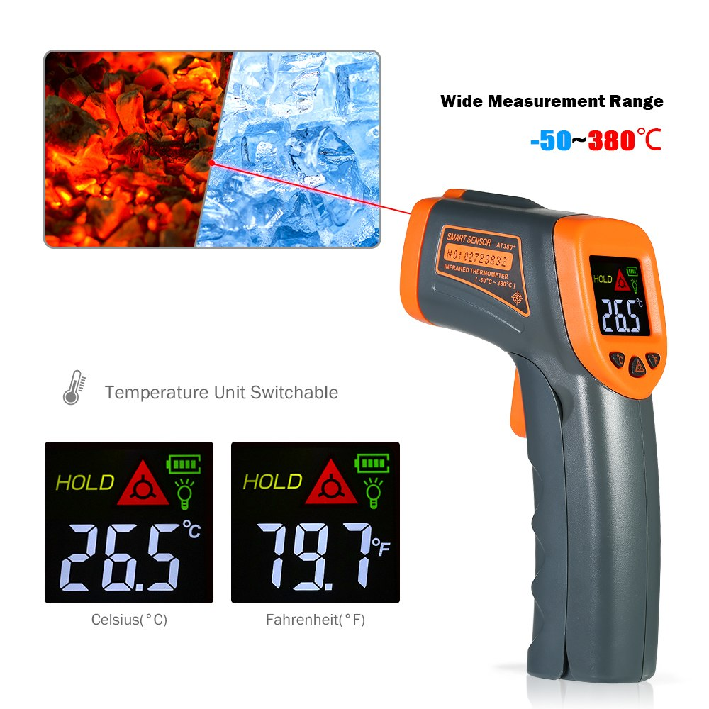 -32-380C Digital Infrared thermometer LCD temperature gauge meter Non-contact Pyrometer+Backlight Centigrade Fahrenhei