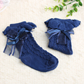 1 Pair New 9 months to 2 Years Pretty Baby Toddler Kids Girl Winter Warm Cotton Flower Lace Bowknot Knee High Socks