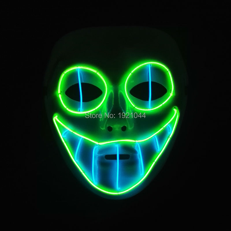Sound activated EL wire Horror smile Masks Halloween Mask