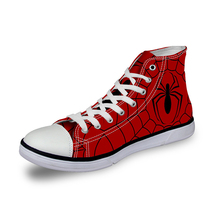 Noisydesigns Men's Vulcanized Shoes Red Spider Man Prints High Top Canvas Shoes 2018 Spring Men's Sneakers Flats Leisure Zapatos