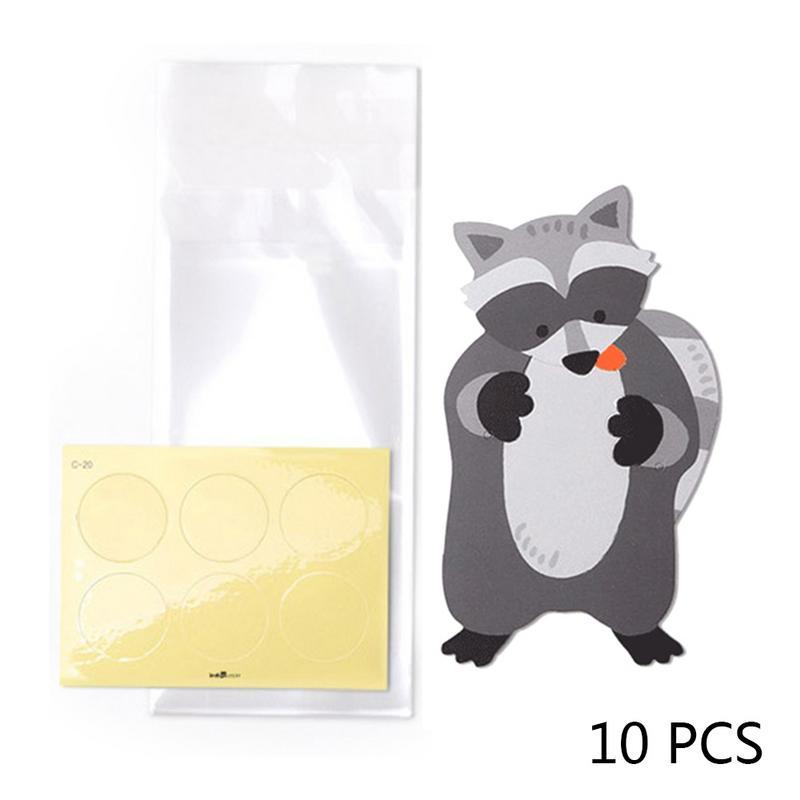 10 шт./лот, милые животные, медведь, кролик, коала, сумки для конфет, поздравительные открытки, сумки для печенья, подарочные сумки для детского душа, украшения для дня рождения - Цвет: B