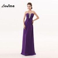 Purple Bridesmaid Dresses Crystal Beading Long Nice Vestidos De Madrinha Vestido De Noche Wedding Guest Party