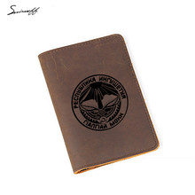 Ingushetia Passport Cover Women and Men Genuine Leather Travel Card Wallet Engraved Logo Card Holders(China)