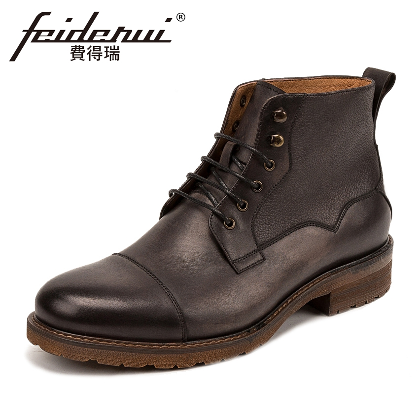 Fashion Genuine Leather Mens High-Top Ankle Boots British Style Outdoor Handmade Flat Platform Cowboy Martin Shoes For Man KUD65 fall trendboots in europe and america heavy bottomed martin boots british style high top shoes shoes boots sneakers