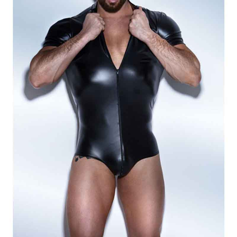 Men's Body Suits Fetish Black Faux Leather Short Sleeve Zipper Lingerie Bodysuit Men Gay Sexy Night Club Wear Plus Size 4XL