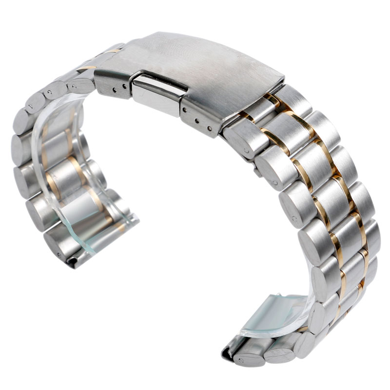 цена на 18/20/22mm Solid Link Wrist Band Watch Strap Stainless Steel Bracelet Replacement Men New Fold Over Clasp Silver/Black/Gold