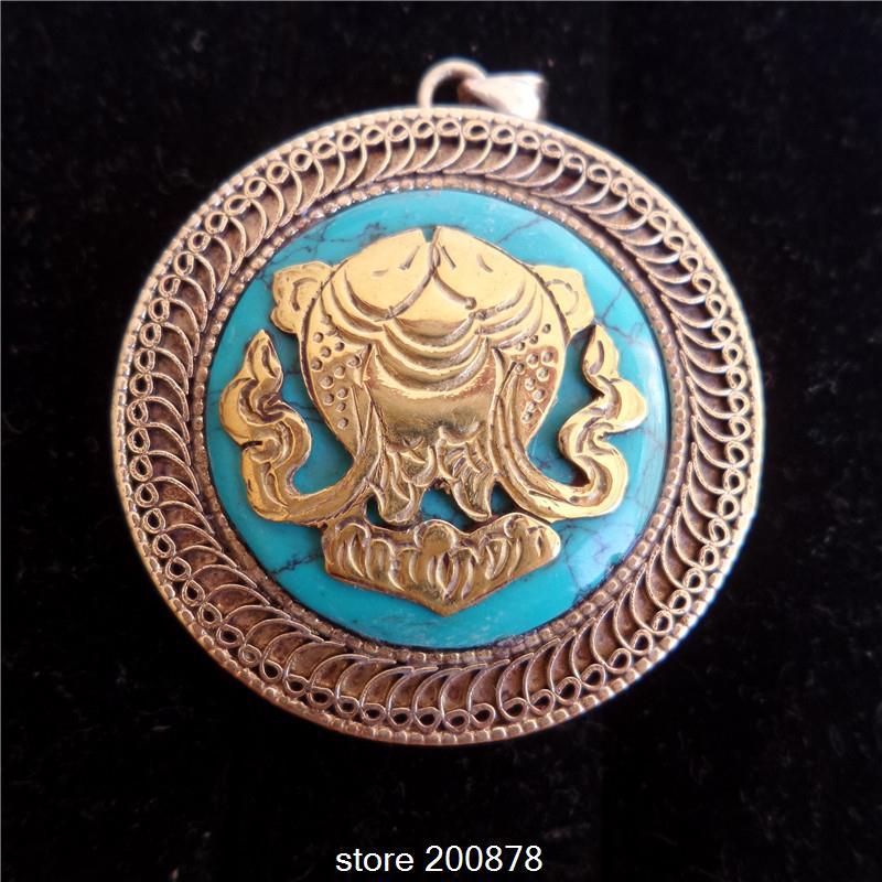 TGB014 Tibetan White Metal Copper Pair Fish/Matsya Amulet prayer box 38mm Nepal Stone Ghau amulets pendant Tibet jewel