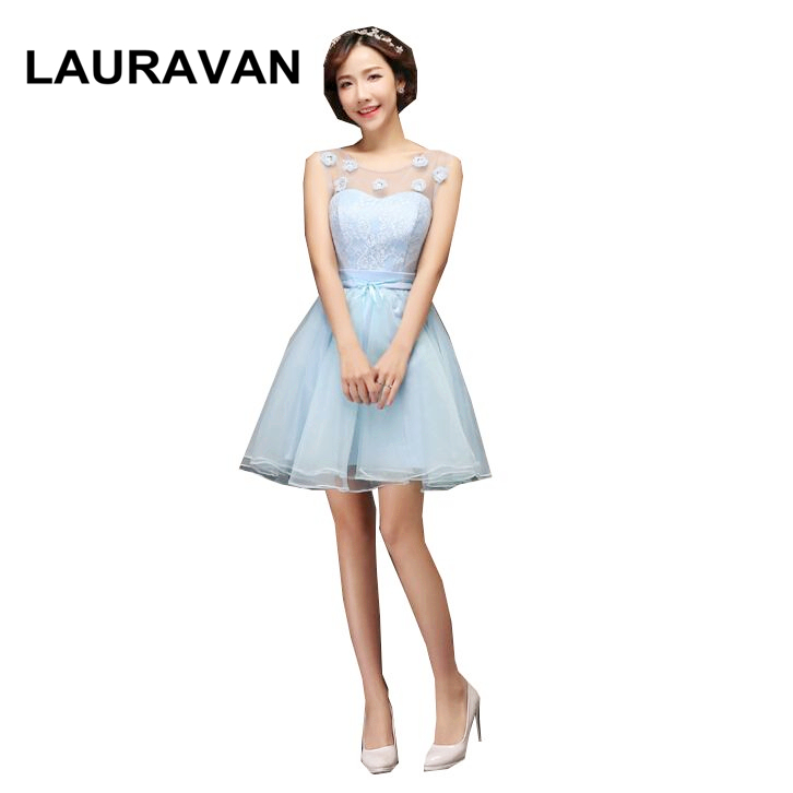 Sky Blue Cute Elegant Bridesmaid Robes Teen Girl Dress Party Fashion Brides Maids Dresses Ball Gown For Wedding Short 2019