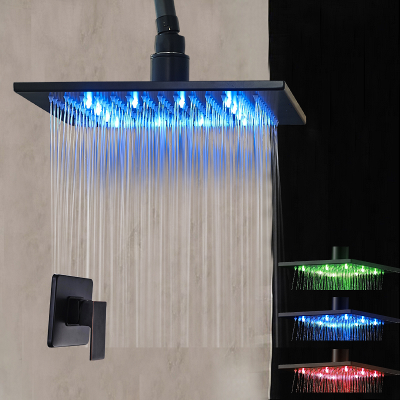 Ceiling Mounted LED Square Rain Shower Head 2 pcs Oil Rubbed Bronze Rain Shower Sprayer Valve Mixer Tap
