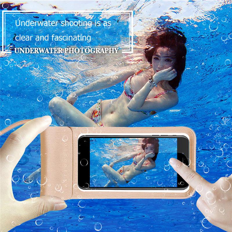 Teléfono impermeable bolsa de natación conveniente PVC transparente práctico sello submarino a prueba de nieve bolsa táctil para todos los teléfonos móviles