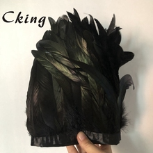 Kolor czarny 2 metry 15 20 cm natura i prawdziwy kogut coque wykończenia z piór wstążki frędzle festiwal ślubny dekoracje do domu na imprezę koronki