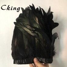 Siyah renk 2 metre için 15 20 cm doğa ve gerçek horoz coque tüy düzeltir şeritleri saçaklar düğün festivali parti ev dekorasyon dantel