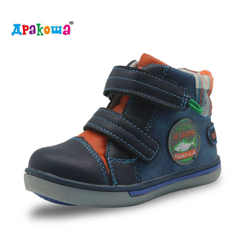 Apakowa Autumn Boys Boots Ankle Pu Leather Children's Shoes Toddler Sports Sneakers Arch Support Fashion Kids Shoes for Boys