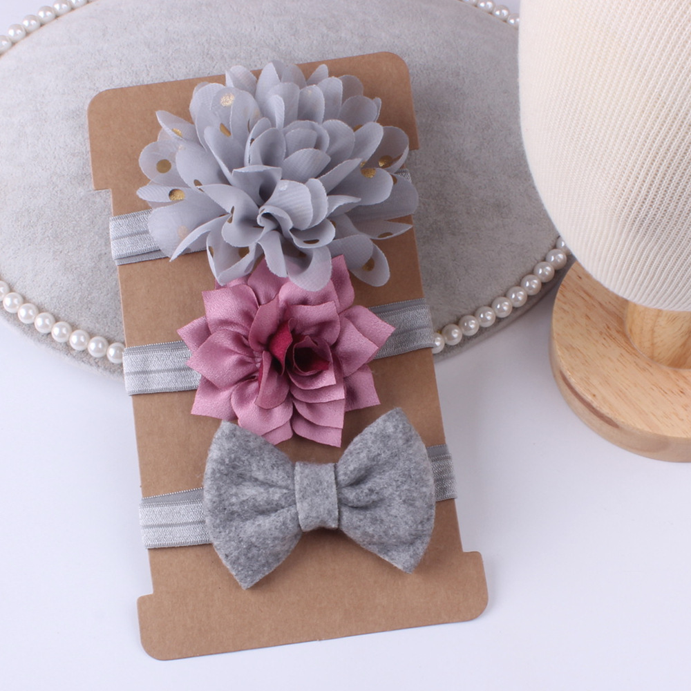 New 3pcs/set Baby Girl Bows Hair Accessories Chiffon Flower Headband Bow Knot Party Princess Dress Decoration High Quality