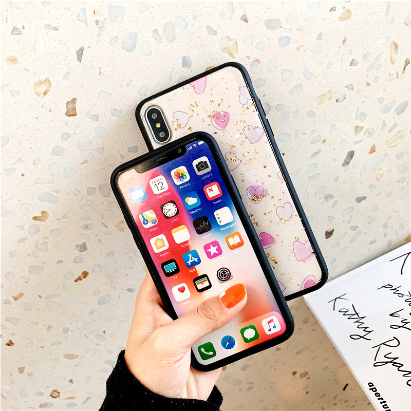 KIPX1088_5_JONSNOW Phone Case for iPhone XS XR XS Max 6S 7 8 Plus Gold Foil Love Heart Style Tempered Glass Back Cover Cases