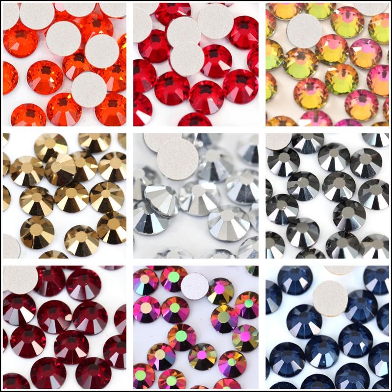 1440pcs Glitter Red Non Hot Fix Rhinestones Crystal SS3 To SS34 Flatback Nail Art Rhinestones For Nail Art Decoraton B0994