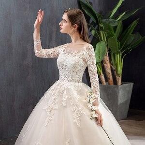 Image 3 - Mrs Win vestidos De novia De manga larga, novedad del 2020 en vestidos De encaje De lujo para baile musulmán, Vestido De boda hecho a medida, Vestido De novia X