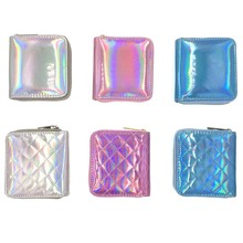 KANDRA Fashion New Holographic Small Wallet Coin Purse Shiny PU Leather Women Short Card Holder Sewing Thread Lattice