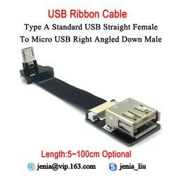 5 CM-100 CM duża odległość Ultra cienki płaski usb kabel taśmowy standardowy typ  kobiecy męski Micro w dół pod kątem złącze 90 stopni