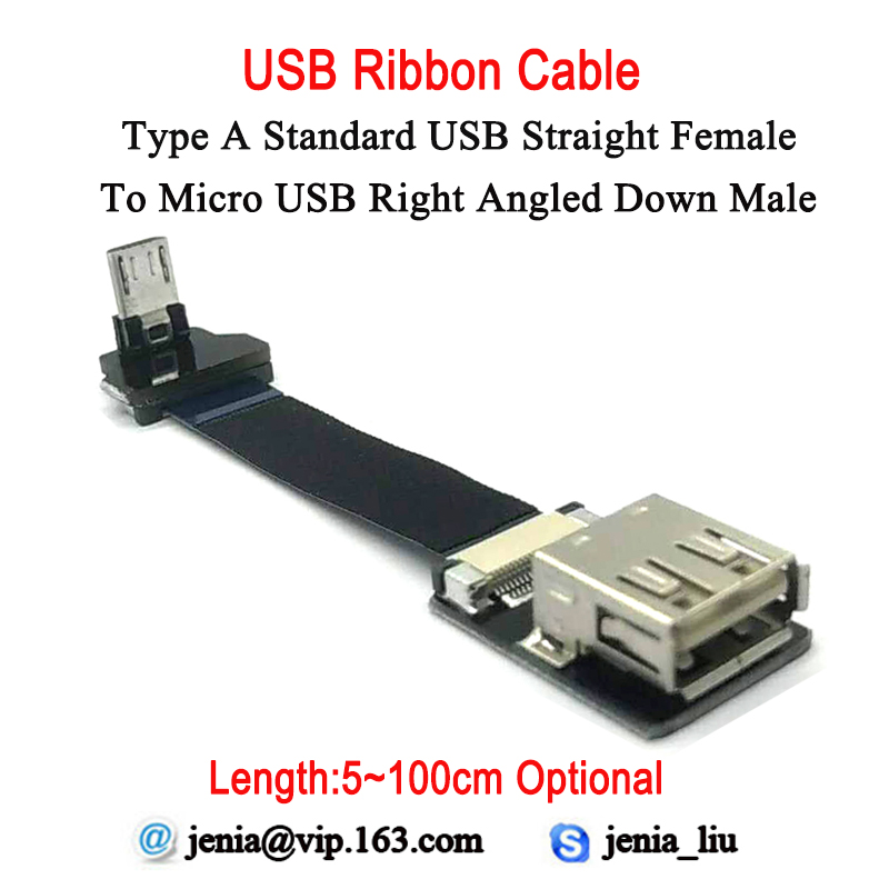 5CM - 100CM Long Distance Ultra Thin Flat Usb Ribbon Cable Standard Type A Female To Male Micro Down Angled 90 Degree Connector