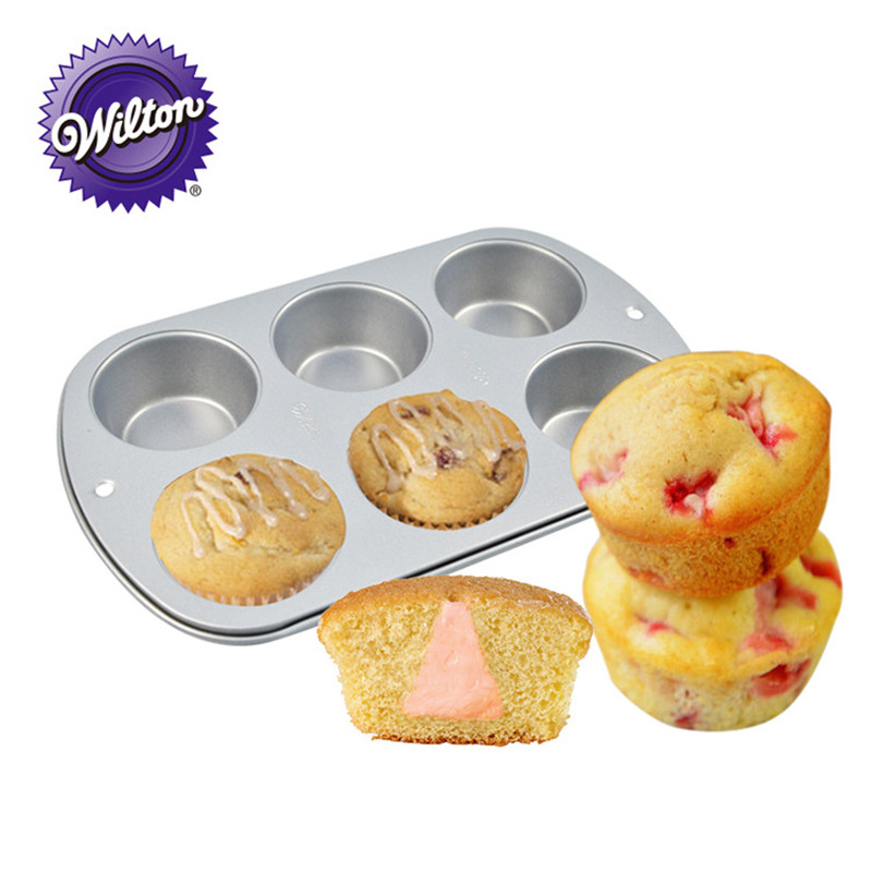 Wilton Recipe Right Muffin Pan, 6-Cups Non-Stick, for Great Muffins, Cupcakes, Breakfast Potato Egg Cups Cake Pan Baking Tools image